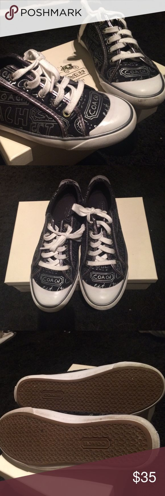 Size 8, genuine coach sneakers with box! Gently used, size 8 black and silver coach sneakers! Love these shoes but my feet grew from being pregnant  they need someone to love them! Smoke free home, gently worn, no damage! Make me an offer! Coach Shoes Sneakers