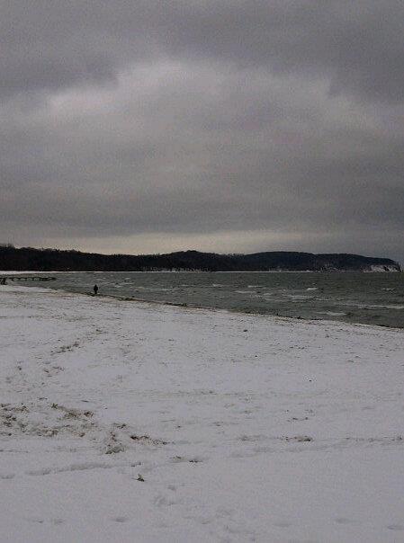 the winter Baltic Sea in December, Sopot.