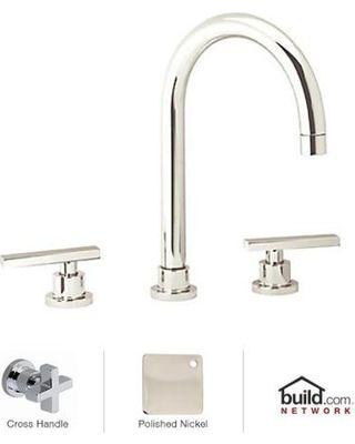 Rohl BA106X-PN-2 Polished Nickel Modern Modern Widespread Bathroom Faucet with Metal Cross Handles BA106X-2