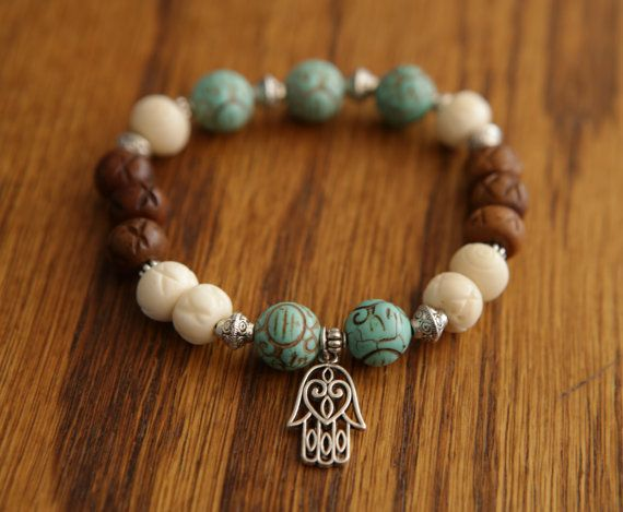 Yoga Bracelet Turquoise White and Brown Meditation by SlothAndCo