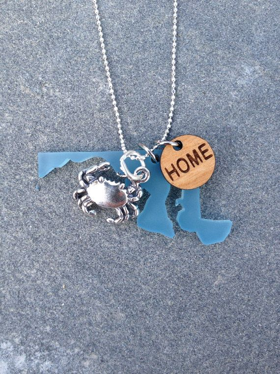 Maryland Crab and HOME Charm Necklace by CABANA109 on Etsy, $45.00...I NEED this!!