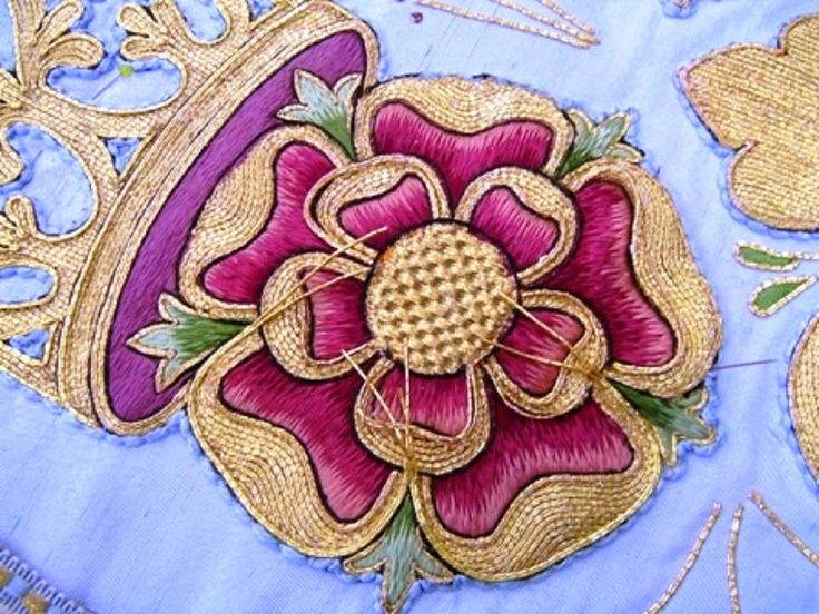 This silk and goldwork Tudor Rose is a detail from a larger piece that is under repair at the Royal School of Needlework  Image courtesy of http://www.royal-needlework.org.uk/galleries/images/24/
