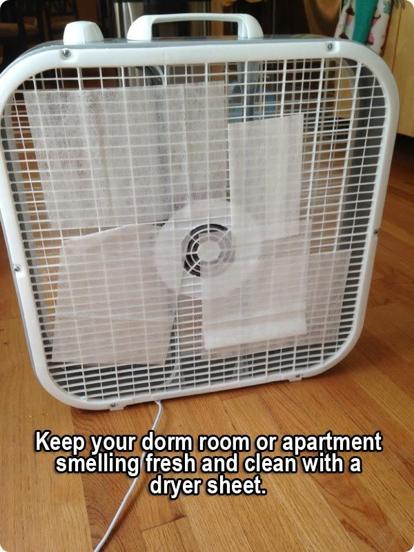 36 Life Hacks Every College Student Should Know   Tape Dryer Sheets To A  Fan To Make A Room Smell Better Part 95