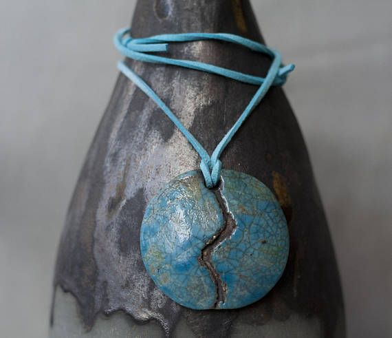 Ceramic necklace Cracked ground ceramic raku