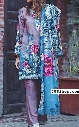 Lilac/Blue Linen Suit | Buy Cross Stitch Pakistani Dresses and Clothing online in USA, UK