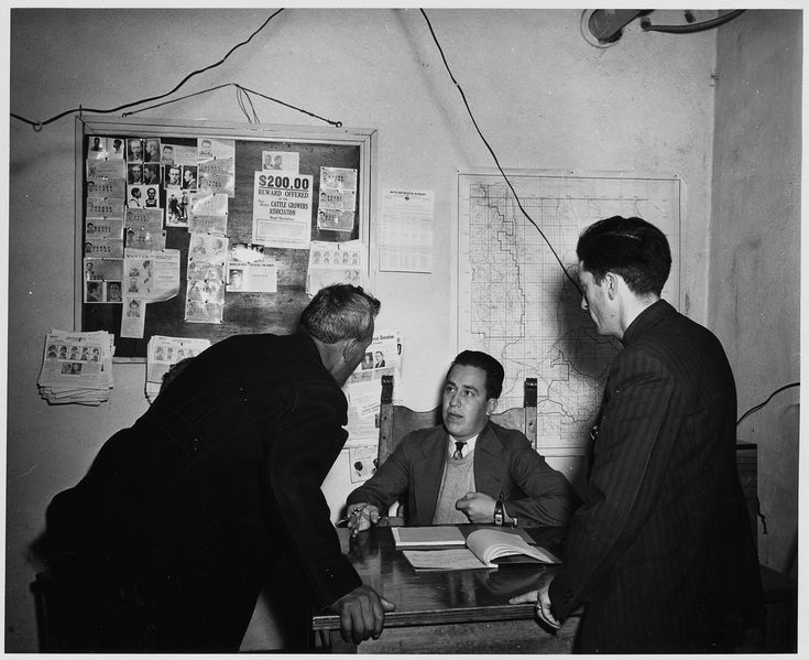 Taos County, New Mexico. Justice of the Peace Montoyo hears a minor case. (1941)