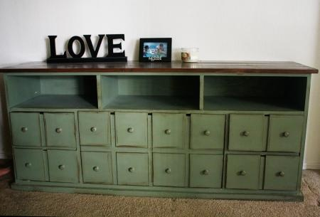 Free easy DIY plans to build a Apothecary Console, featuring two doors and shelves, with apothecary style false fronts.  Inspired by Pottery Barn Andover Console table, build your own with these step by step plans and save.