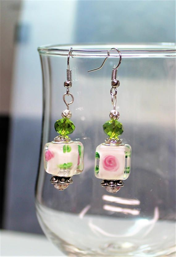 457e23eaf2c2 Pink and White Floral Square Murano European Style Beaded Earrings ...