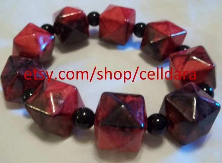 Deep Red, Geometric Beaded Stretchy Bracelet by CellDara on Etsy
