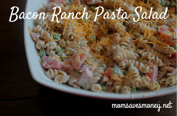 Amazing bacon ranch pasta salad with only 6 ingredients and easy instructions! Great for barbecues! #sidedish