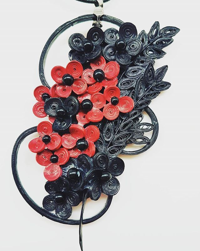 Quillion Jewelry  by the Quilling Artist Jenny Treeg  #quillingart #artist #quilling #art #madebyme #handmade #by #jennytreeg #necklaces #necklace #paper #strips #beads #jewelry #black #and #red #flowers #2017 #new #collection #abstract #design #greece