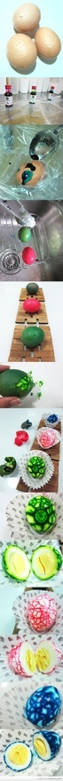 This is sooo cool! definitely gonna try it!: Loss Products, Gifts Cards, Boiled Eggs, Easter Eggs, Deviled Eggs, Devil Eggs, Marbles Eggs, Weights Loss, Easter Ideas