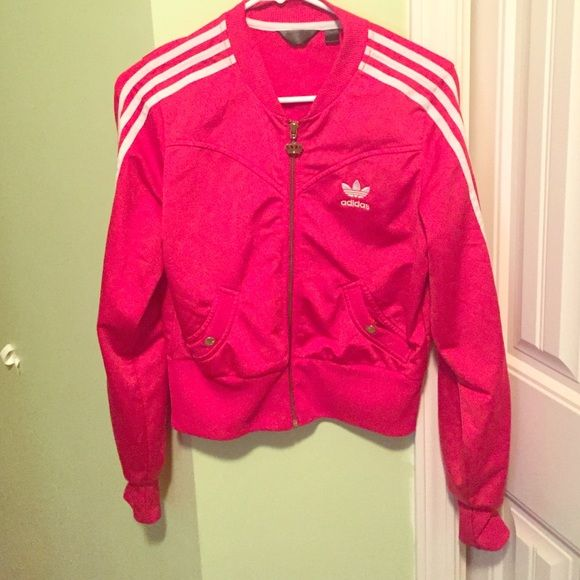 """Adidas respect me jacket Excellent condition gorgeous red and white Adidas """"respect me """" by missy Elliot jacket size small/medium Adidas Jackets & Coats"""