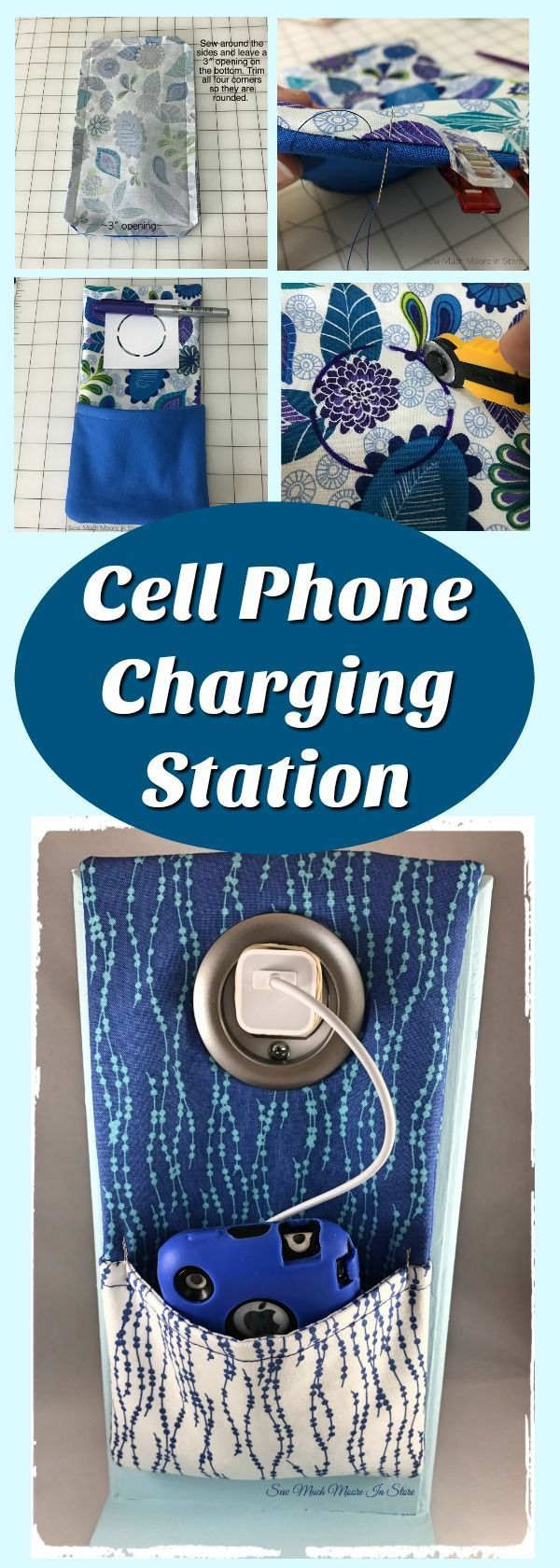 Get your FREE sewing pattern for this Cell Phone Charging Station! This is a gre…