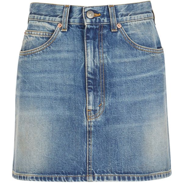 Gucci Blue Denim Mini Skirt - Size 12 ($935) ❤ liked on Polyvore featuring skirts, mini skirts, blue skirt, blue mini skirt, denim miniskirts, high waisted denim mini skirt and short mini skirts