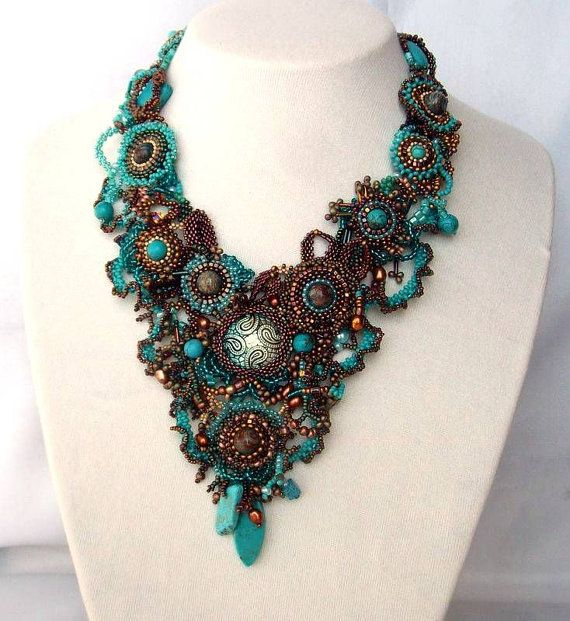 Beadwork necklace, Seed bead jewelry, beaded art necklace, Statement necklace, Turquoise brown