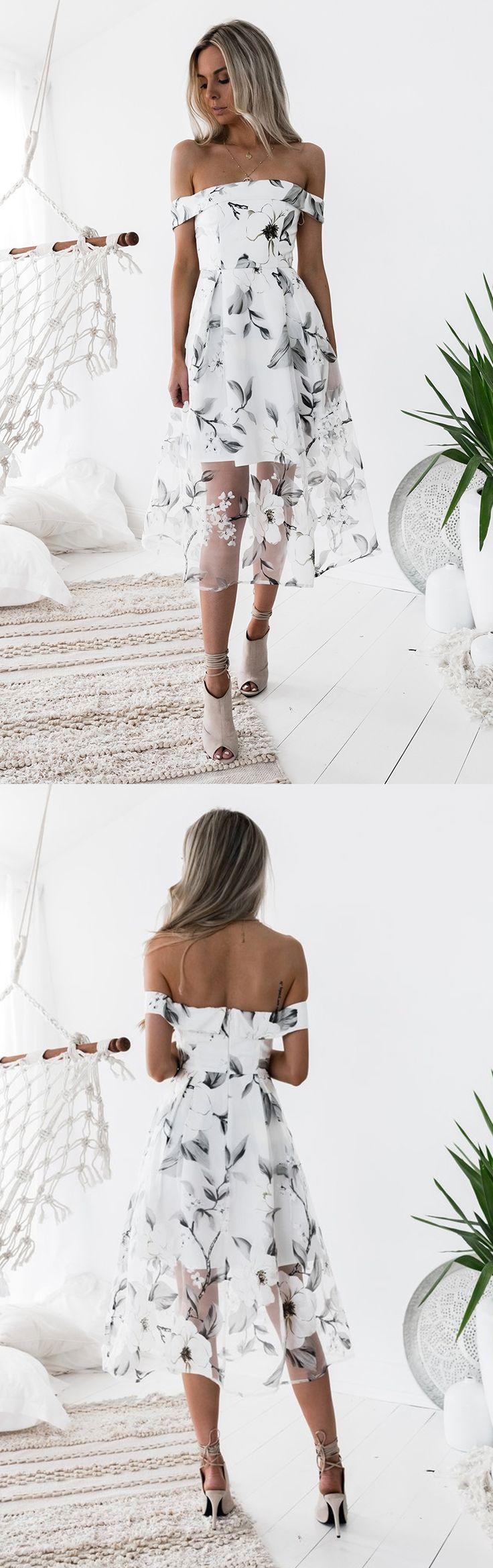 Off Shoulder Homecoming Dress, Unique Homecoming Dress, Tea-Length Junior School Dress#homecoming#homecomingdresses#2018homecomingdress