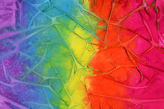 Cool effect- watercolours and plastic wrap