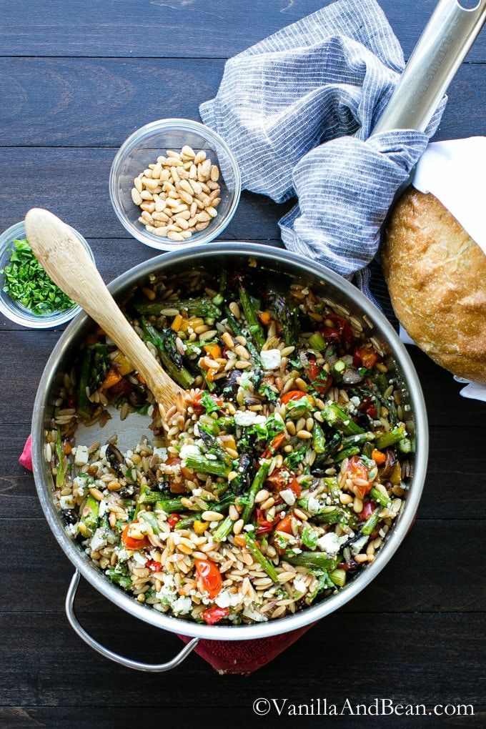 Lemon Garlic Orzo with Roasted Vegetables is delicious served warm or chilled and makes a fabulous addition to a picnic, or pot luck. Vegetarian.