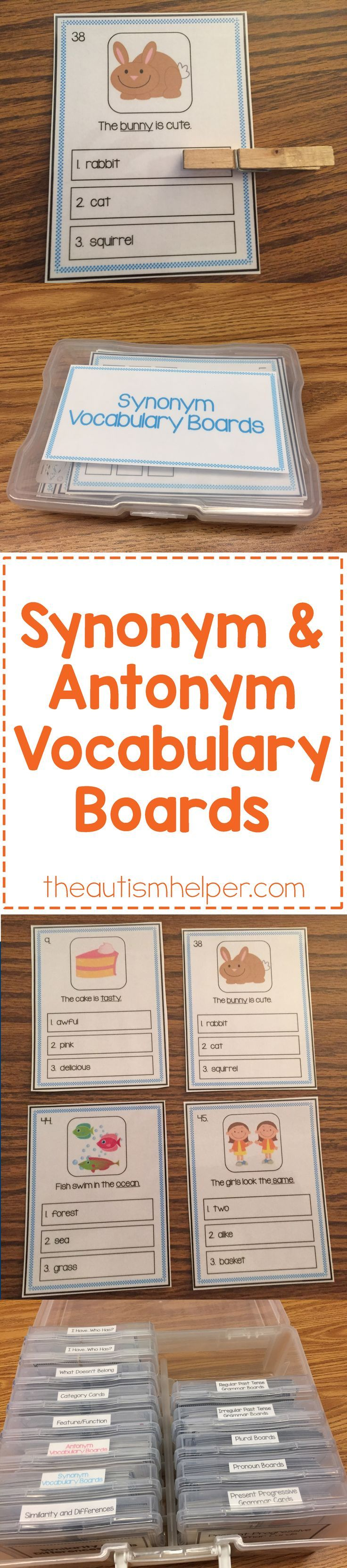 Build up your students� vocabulary skills with our Synonym & Antonyms Vocabulary Boards! The set contains 48 boards each PLUS we're sharing how Sarah uses them in speech therapy on the blog!! From theautismhelper.com #theautismhelper