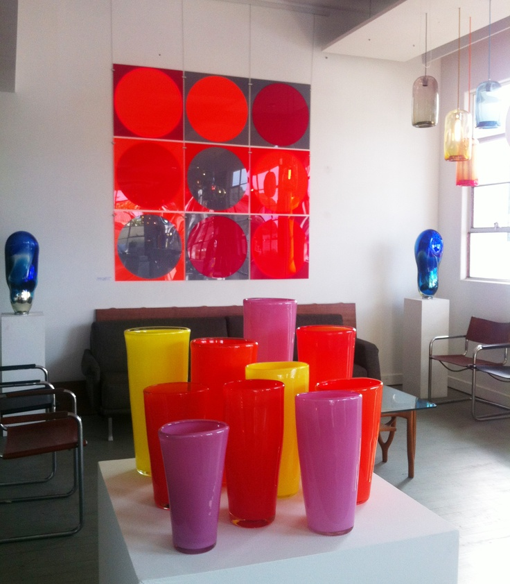Coloured Vases from Mark Douglass Design and Wall Piece by Melma Hamersfeld