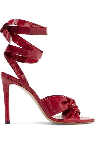 Heel measures approximately 100mm/ 4 inches Claret eel Ties at ankle Eel: South Korea Made in ItalySmall to size. See Size & Fit notes.As seen in The EDIT magazine