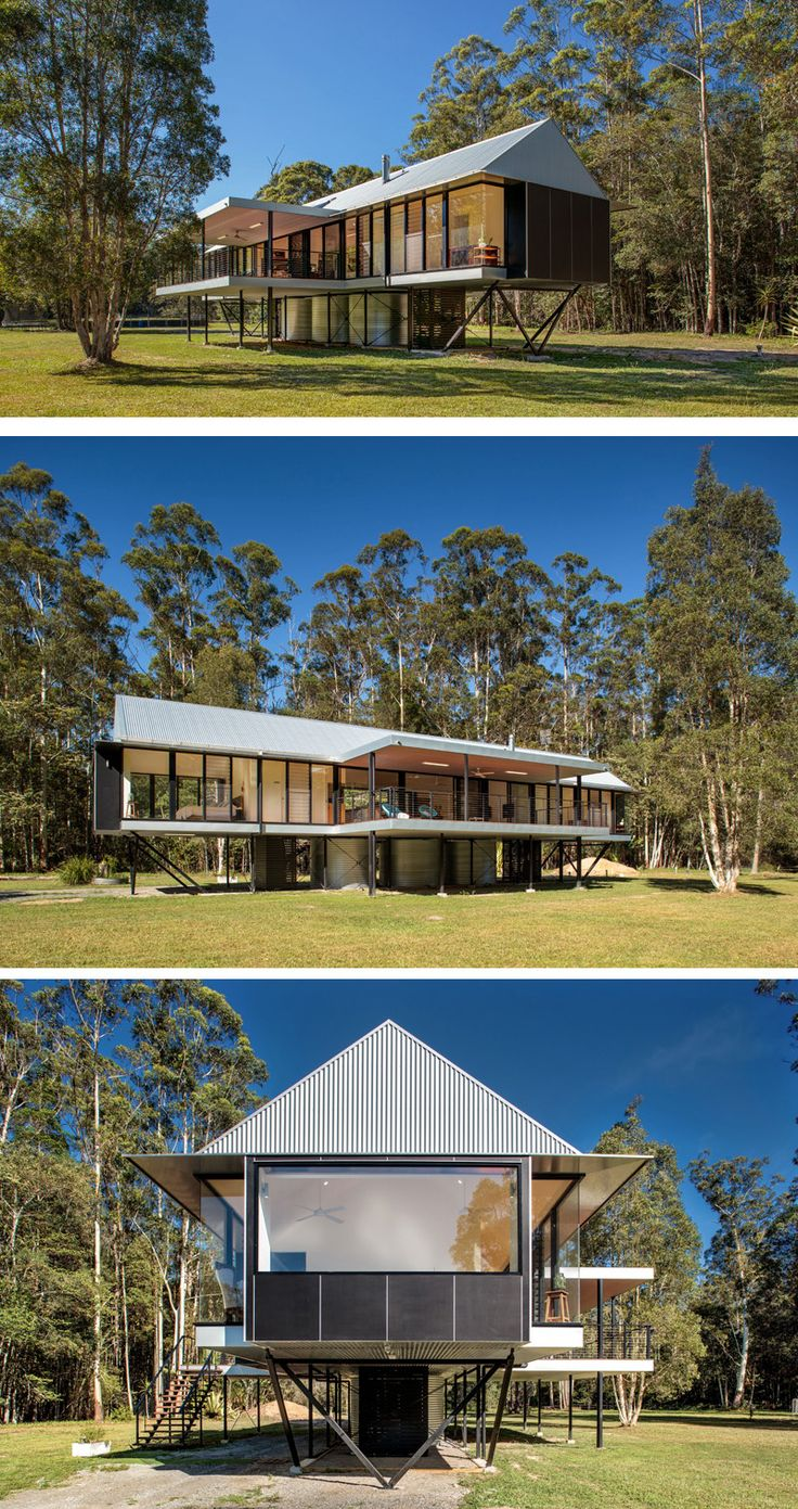 Robinson Architects have designed the Platypus Bend House, a home in Pomona, Australia, that has been raised off the ground to avoid the flooding that the area occasionally experiences.