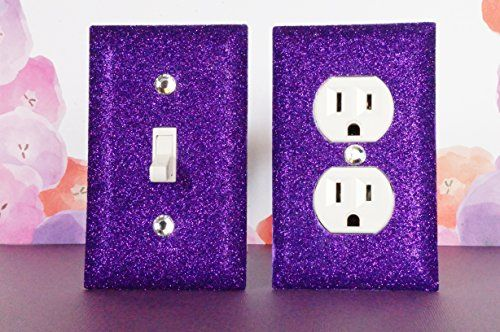 PURPLE ROOM / BEDROOM DÉCOR ***************************************************************************************************** SET OF PURPLE Glitter Switch Plate Outlet Covers ALL Styles Available!  Perfect for your new PURPLE Room, PURPLE TEEN ROOM, PURPLE GIRL'S ROOM, PURPLE BATHROOM, NURSERY, NURSERY DECOR, TEEN ROOM DECOR, SWITCH PLATES, OUTLET COVERS, ROCKERS, GLITTER OUTLET COVER, GLITTER LIGHT SWITCH,  PURPLE ROOM DECOR, TEEN GIRL DECOR, PURPLE NURSERY,  SILVER AND PURPLE