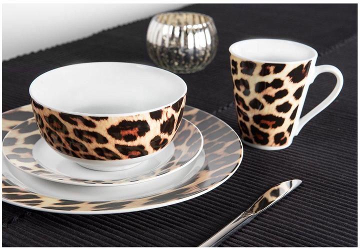 Sabichi Leopard 24 Piece Dinner Set Animal Leopard Print