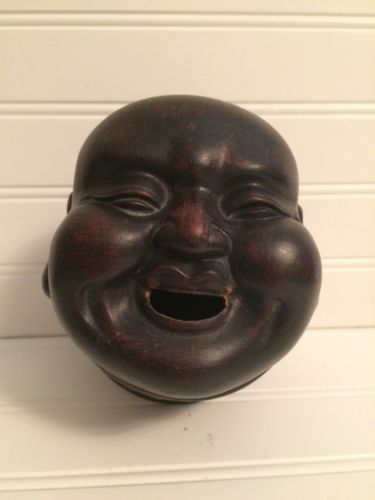 Chinese-Buddha-Pottery-vintage-Incense-Burner-he-has-a-great-smile