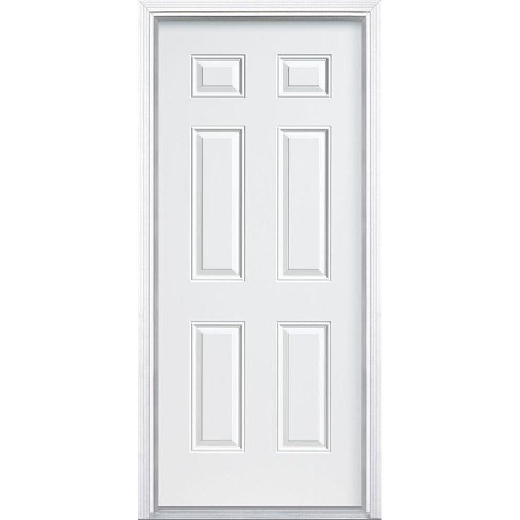 Out Of Sight Home Depot Wood Doors White Wood Barn Doors: Masonite 6-Panel Primed Smooth Fiberglass Entry Door With