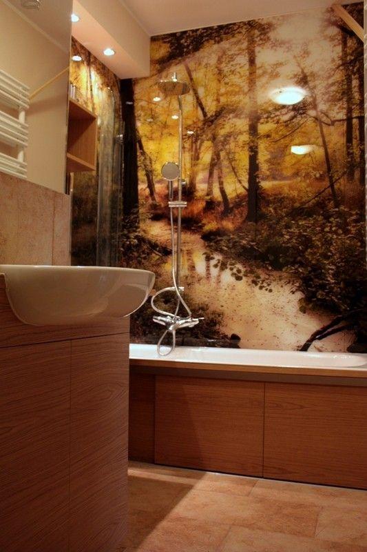 """Fototapeta w łazience. Można połączyć z """"mieszkaniem studenta"""" albo zrobić eko-łazienkę."""