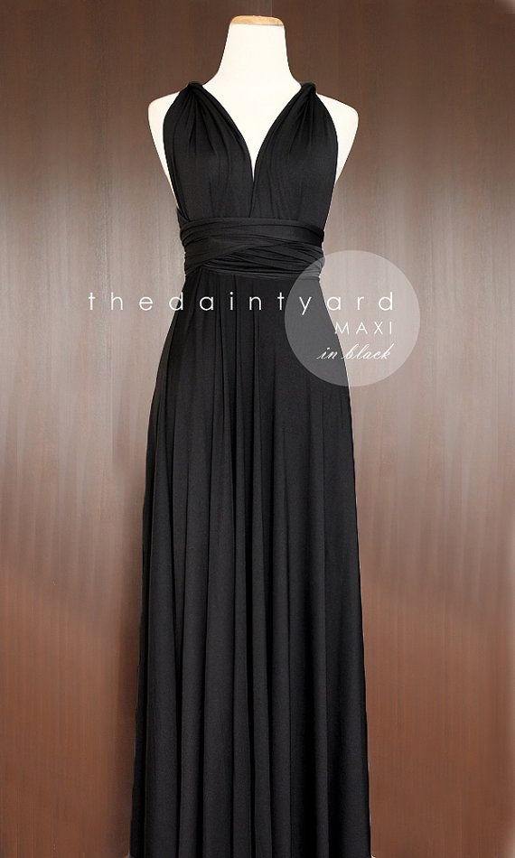 MAXI Length Black Bridesmaid Convertible Infinity Multiway Wrap Dress Prom Long Dress