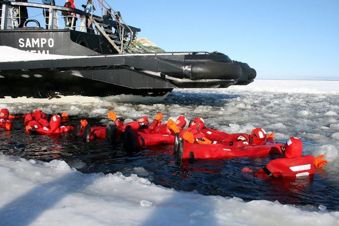 Floating in the frozen sea during the cruise with Sampo ice breaker.