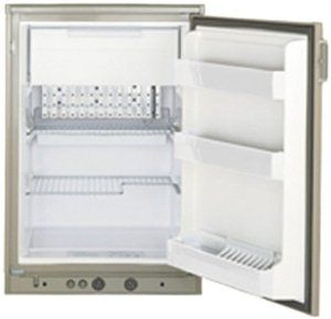"""Dometic 2410 Compact Refrigerator 4 Cubic Ft RM2410.2  RM2410.2 is sized to fit standard cabinet openings at an affordable price. Features include easy-access manual controls. Piezo ignition system is standard on the RM2410. Rugged and dependable as well as great looking.   Recess dimensions:   RM2410.2: 32-7/8""""H x 21-3/16""""W x 24""""D. 4.0 cubic feet Ship weight 88 lbs.    Door Reversing Note: This refrigerator comes as a right hand hinge. Refer to the owner's manual for instructions on how to…"""