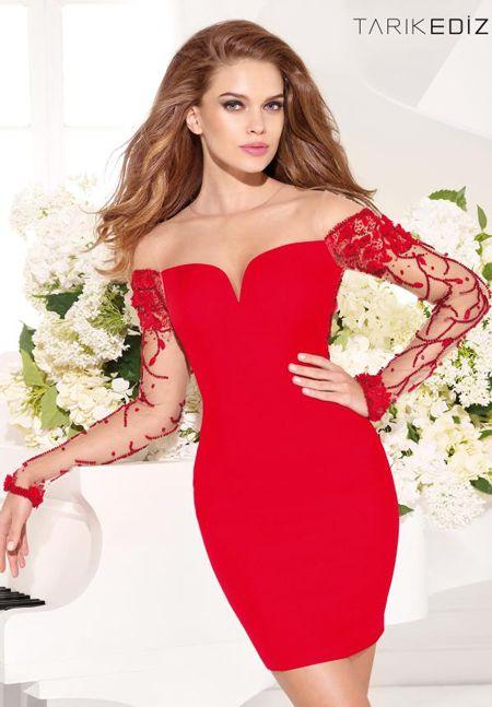 Tarik Ediz 90359 - $780.00. longsleeve. offshoulder. fit. short. red. dress
