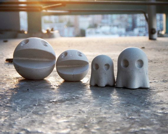 Concrete Pacman & Ghosts Desktop Toy by TheCoconutRobot on Etsy