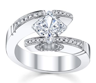14K White Gold Princess Cut Tension Ring Setting - Kite Style by Novori.  LOVE THIS!
