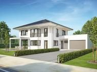 Optisch überzeugt das Einfamilienhaus generation5.0 mit einer stilvollen Außengestaltung. Die weiße Edelputzfassade des 2-geschossigen Gebäudes bildet einen modernen Kontrast zum anthrazitfarbenen Walmdach.Der fast quadratische Grundriss wird mit einem ca. 30 m² großen Garagenanbau, Erkerelementen sowie einer überdachten Terrasse spannungsreich ergänzt.