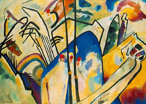 "Wassily Kandinsky, ""Composition IV"", 1911 The straight, curved, and energetic lines in this piece really bring out all the other things in this art. The lines help this art look better."