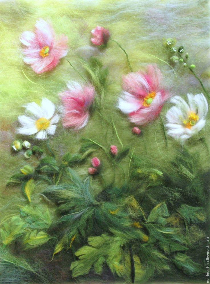 Купить Картина из шерсти Цветочный блюз - разноцветный, картина из шерсти, живопись шерстью, шерстяная акварель
