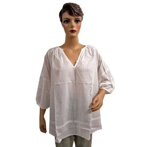 Womens Boho Fashion White Tunic Top Spring Summer Cotton Blouse Xxl Size (Apparel)  http://www.foxy-fashion.com/Johns-Amazon.php?p=B007Y3C0BI