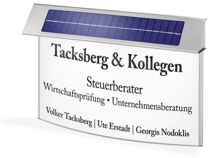 LED Solar Infotafel K-L Werbeschild Werbetafel Edelstahl Beleuchtung 102262