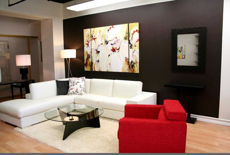 Simple Living Room Design with white and red sofa