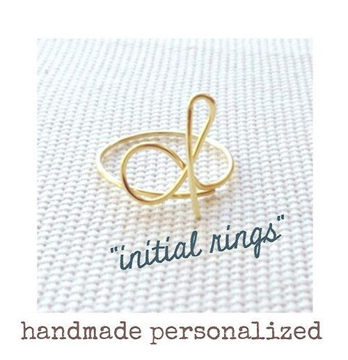 Initial Ring, Handmade Personalized, Bridesmaid Initial Ring, Gold, Silver, Double Initial Ring on Etsy, $4.50