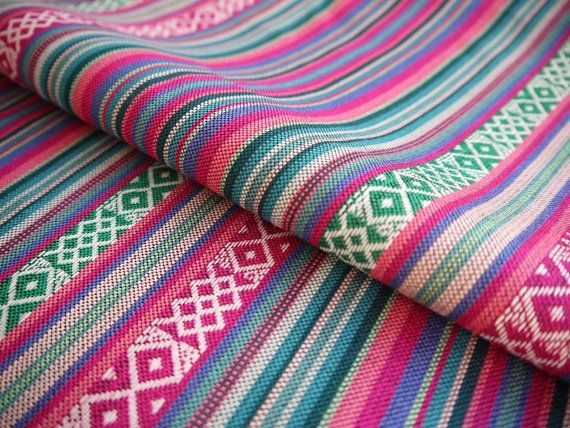 South American Fabric, Peruvian Fabric, Woven, Pink Turquoise Green Cruza…