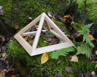 Small Folding Wooden Pyramid, Meditation Pyramid for Self Healing, positive energy