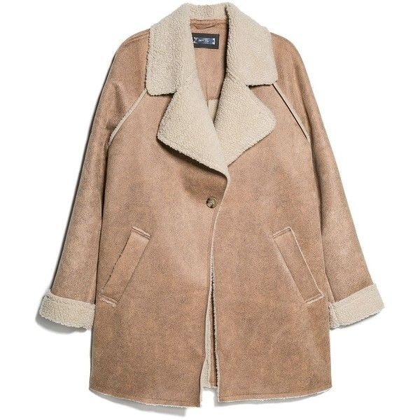 Faux Shearling-Lined Coat (£40) ❤ liked on Polyvore featuring outerwear, coats, jackets, coats & jackets, mango coat, lined coat, beige coat, sherpa lined coat and sherpa coat