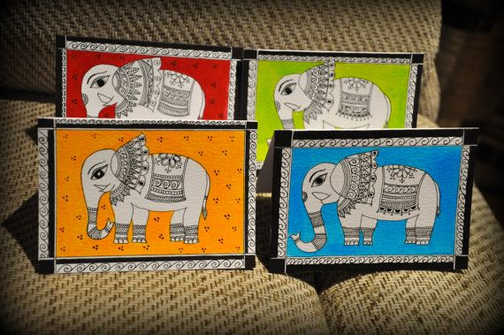 Handmade set of 4 cards (No writing inside) Size - A6 These are based on the Madhubani style of Indian Folk art with an Elephant Design The cards are made with water colours and black ink on acid free 220 gsm paper I ship only to addresses in the UK