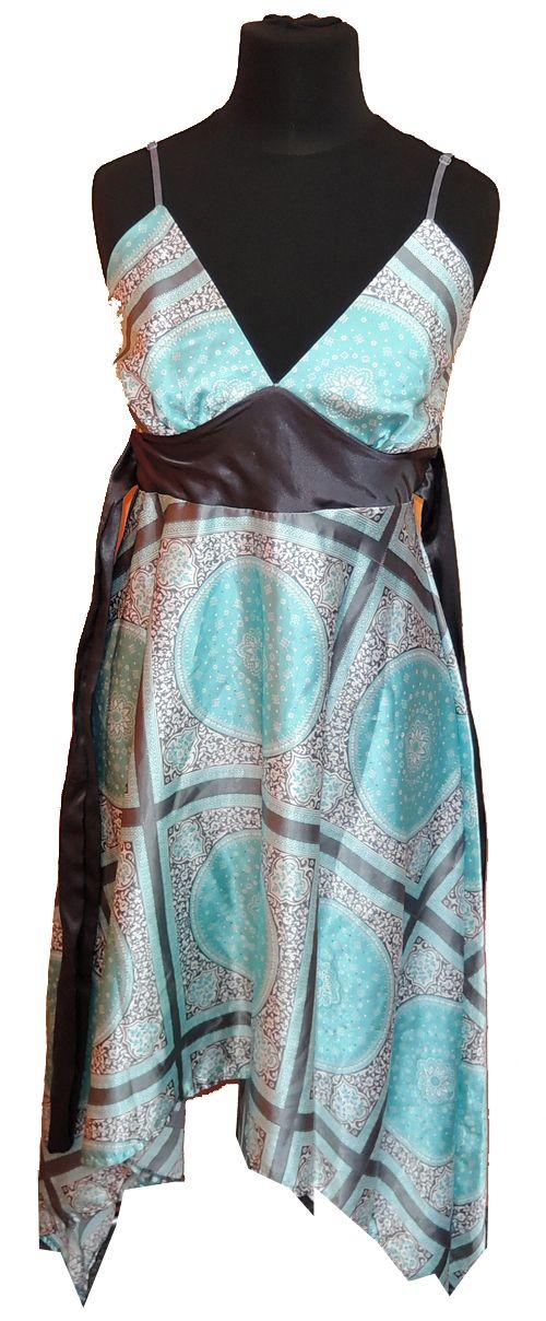 BRUMLA.CZ – Značkový dětský a dospělý second hand a outlet, použité oděvy pro děti a dospělé - Dámské modro-šedé vzorované saténové šaty zn. Miso